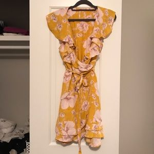 LIKE NEW Free People Yellow Floral Wrap Dress